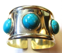 Silver Bangle Turquoise Stone 008