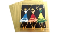 Placemats - Set of 6 - African Ladies Dancing Multi Color Bronze