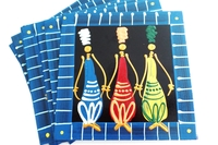 Placemats - Set of 6 - African Ladies Multi Color Blues Stripe