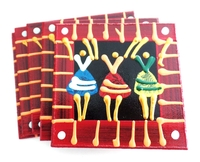 Coasters - Set of 6 - African Ladies Dancing Red Stripe