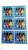 Coasters - Set of 6 - African Ladies Multi Color Blues Stripe