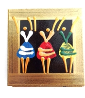 Coasters - Set of 6 - African Ladies Dancing Multicolor Bronze