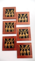 Coasters - Set of 6 - African Ladies Dancing Brown and Bronze