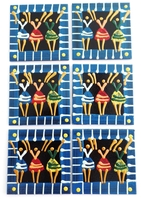 Coasters - Set of 6 - African Ladies Dancing Multi Color Blues S
