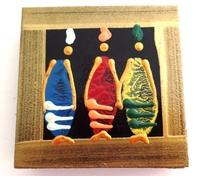 Coasters - Set of 6 - African Ladies Multi color Bronze
