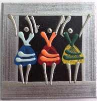Coasters - Set of 6 - African Ladies Dancing Multi color Silver
