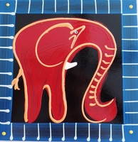 Coasters - Set of 6 - Elephant Reds