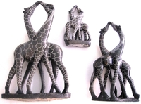 Kissing Giraffes Collection of 3 - Stone Carving from Zimbabwe