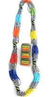 Multi-color Necklace from Kenya with FREE bracelet #001