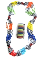 Multi-color Necklace from Kenya with FREE bracelet #008