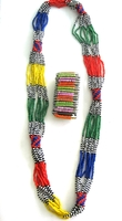 Multi-color Necklace from Kenya with FREE bracelet #003