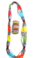 Multi-color Necklace from Kenya with FREE bracelet #007