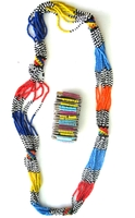 Multi-color Necklace from Kenya with FREE bracelet #010