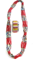 Multi-color Necklace from Kenya with FREE bracelet #005