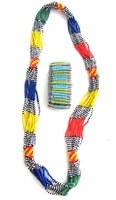 Multi-color Necklace from Kenya with FREE bracelet #006