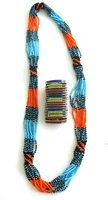 Multi-color Necklace from Kenya with FREE bracelet #004