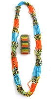 Multi-color Necklace from Kenya with FREE bracelet #002