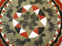 Batik Round Tablecloth from Zimbabwe #001