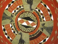 Batik Round Tablecloth from Zimbabwe #006