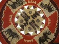 Batik Round Tablecloth from Zimbabwe #007
