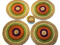 Lutindzi Grass Handwoven Placemat/Coaster Set of 4 - Candy