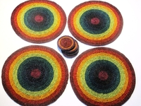 Lutindzi Grass Handwoven Placemat/Coaster Set of 4 -  Rainbow