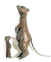 Meerkat - Mother and Child Metal Sculptures