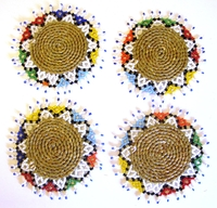 Ndebele Grass & Bead Coasters - Multicolor - Set of 4