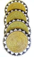 Ndebele Grass & Bead Placemat - Black & White - Large - Set of 4