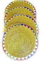 Ndebele Grass & Bead Placemat - Multicolor - X Large - Set of 4