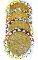 Ndebele Grass & Bead Placemat - Multicolor - Large - Set of 4
