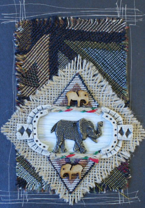 Handmade African Greeting Card - Metal Elephant