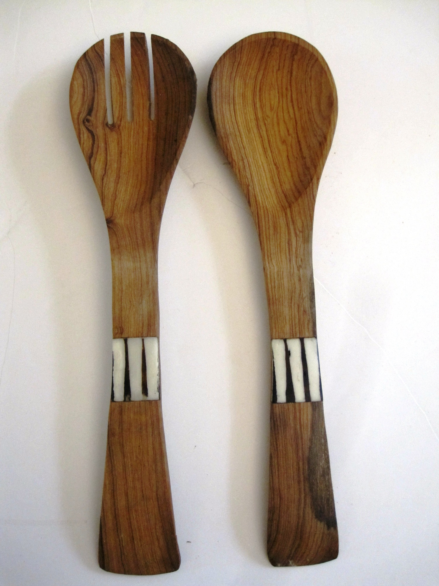 Bone/Wood Salad Server Server Set #001