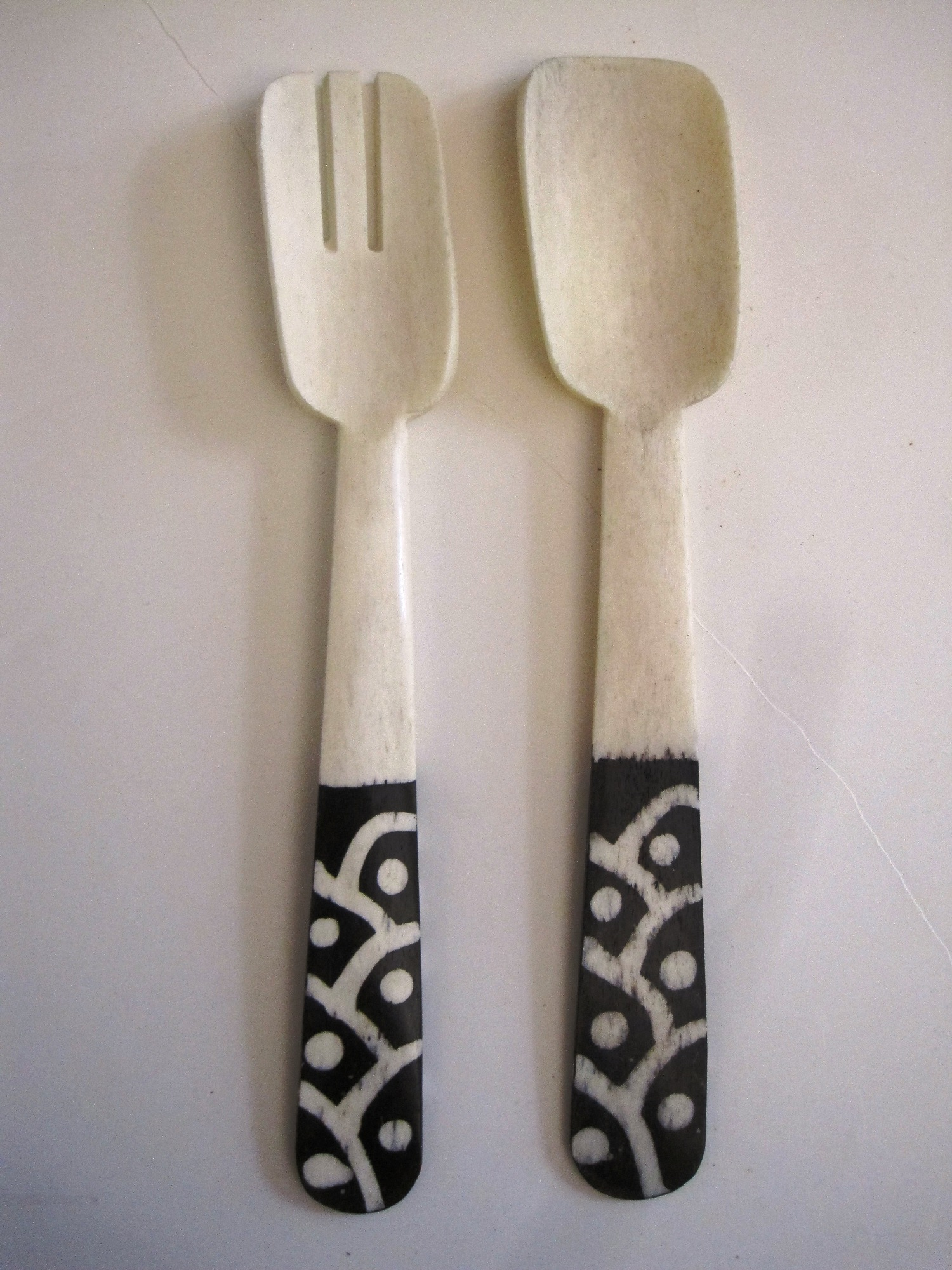 Handcarved African Salad Server Sets