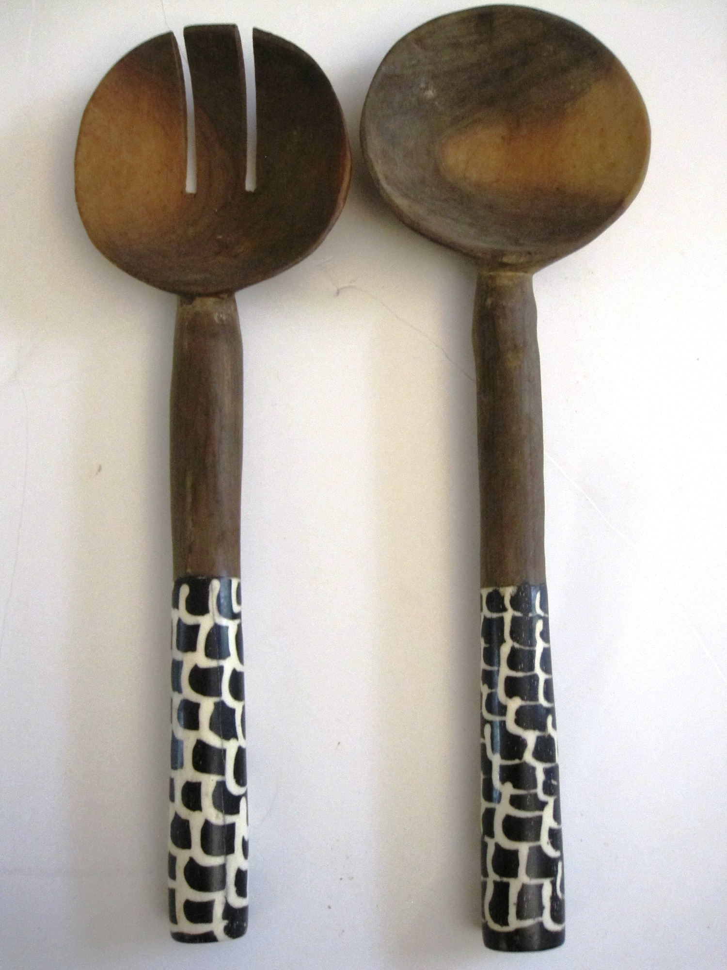 Bone/Wood Salad Server Server Set #003