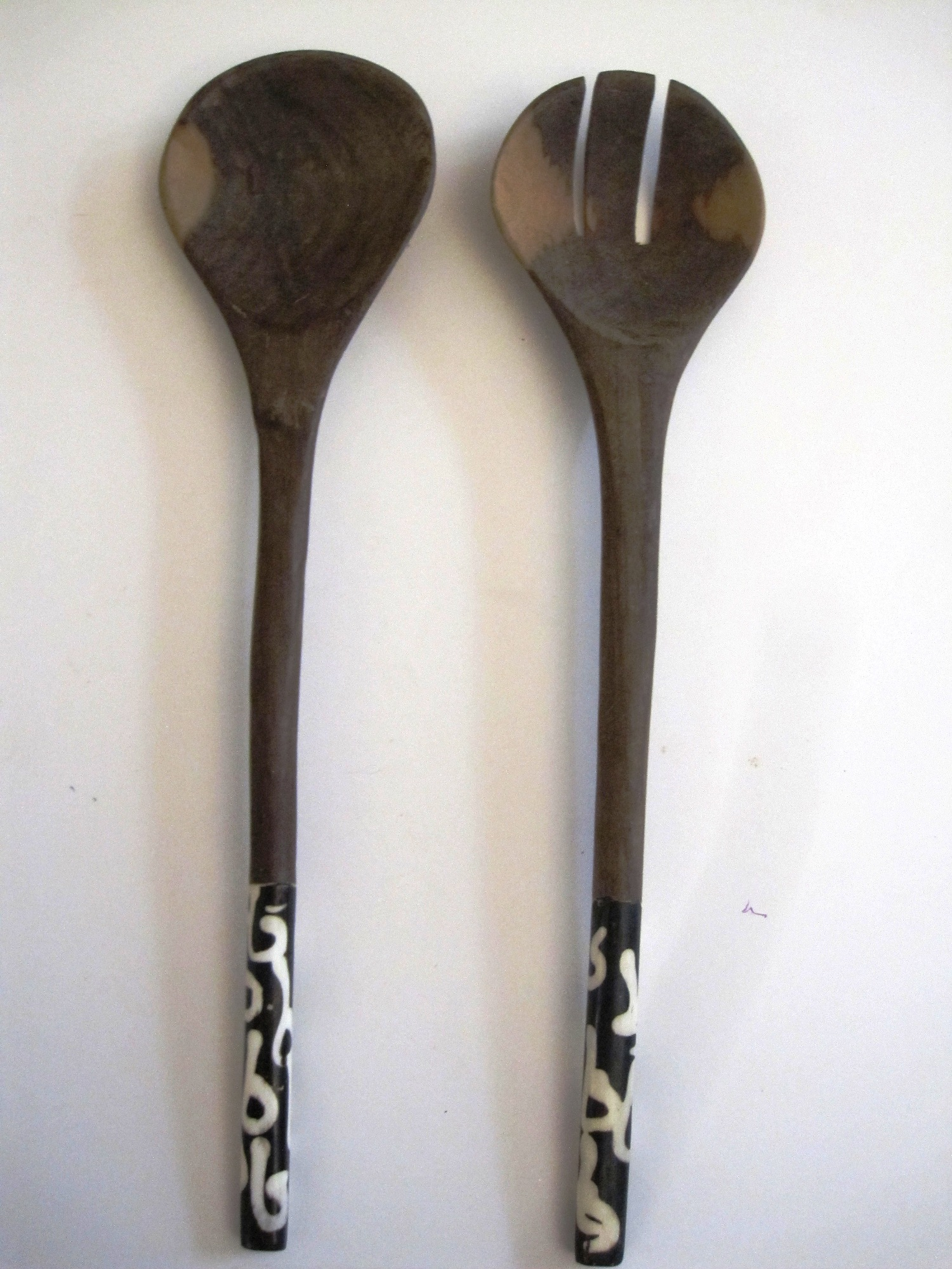 Bone/Wood Salad Server Server Set #006