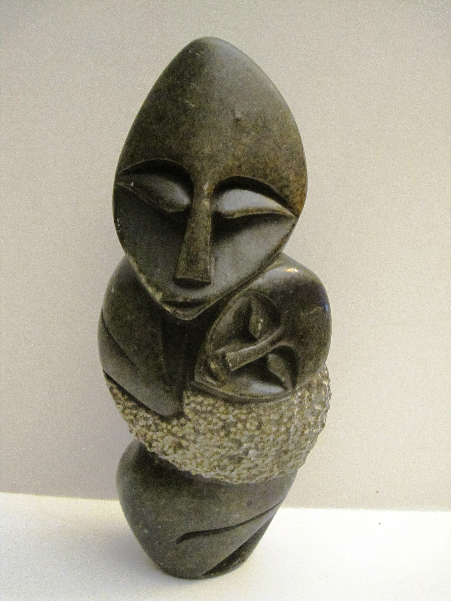 Mother and Child Stone Carving from Zimbabwe
