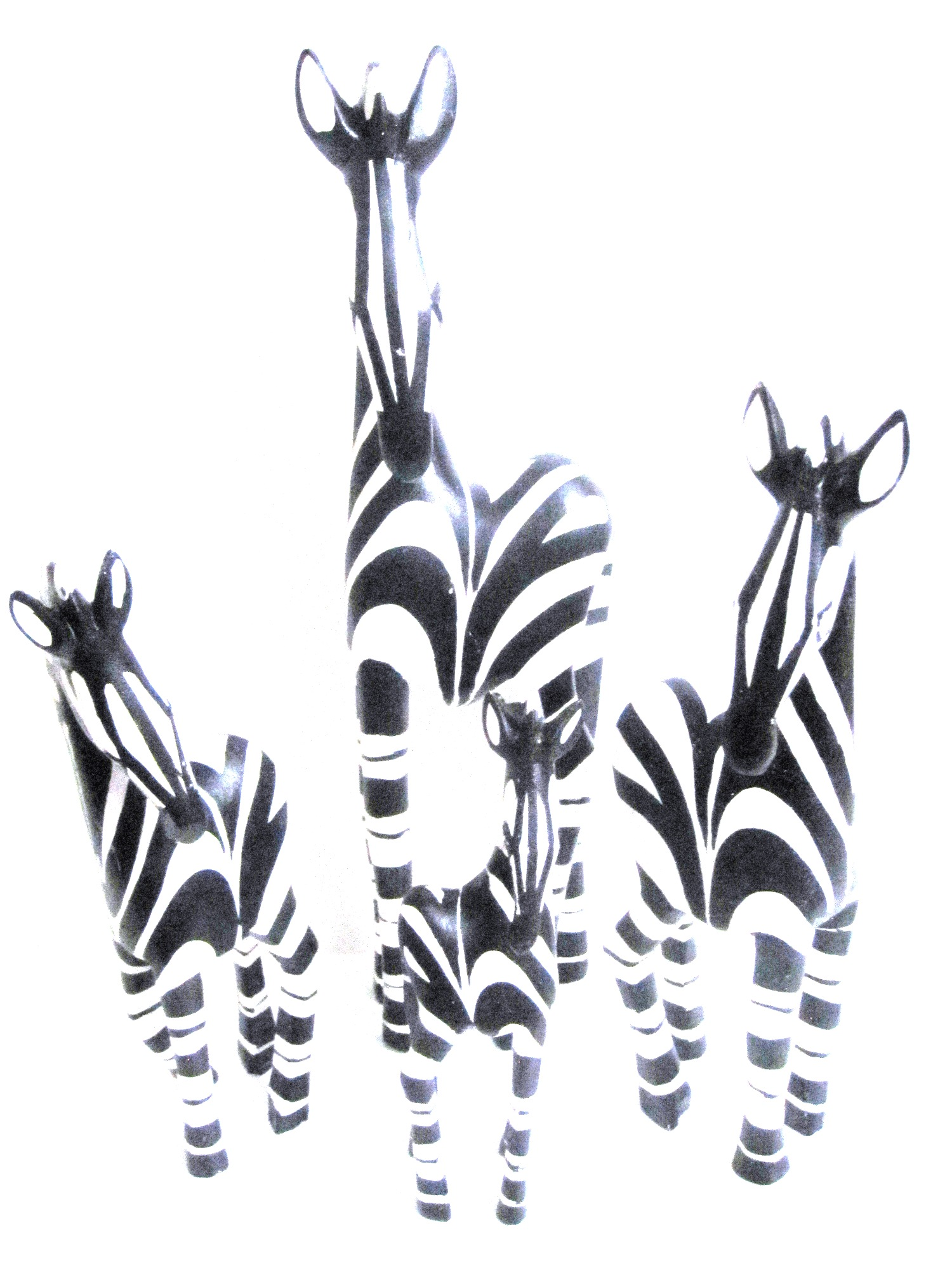 Handcrafted Zebra Carvings from Zimbabwe - Family Set of 4